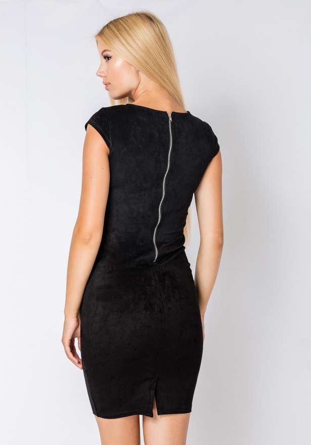 Sleeveless Bodycon Suede Dress In Black