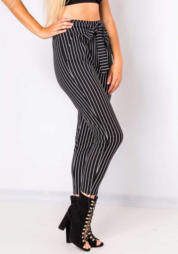 Emma Tie Front Chic Pinstripe Pants In Black