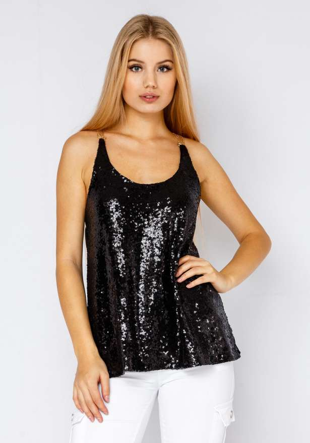 Sequin Top With Gold Chain In Black