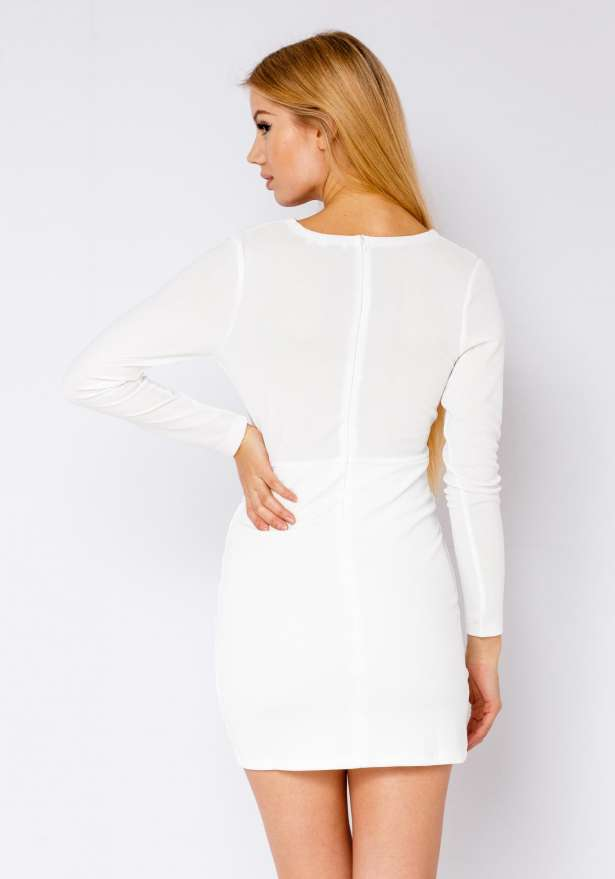 Chic Dress With Sleeves In White
