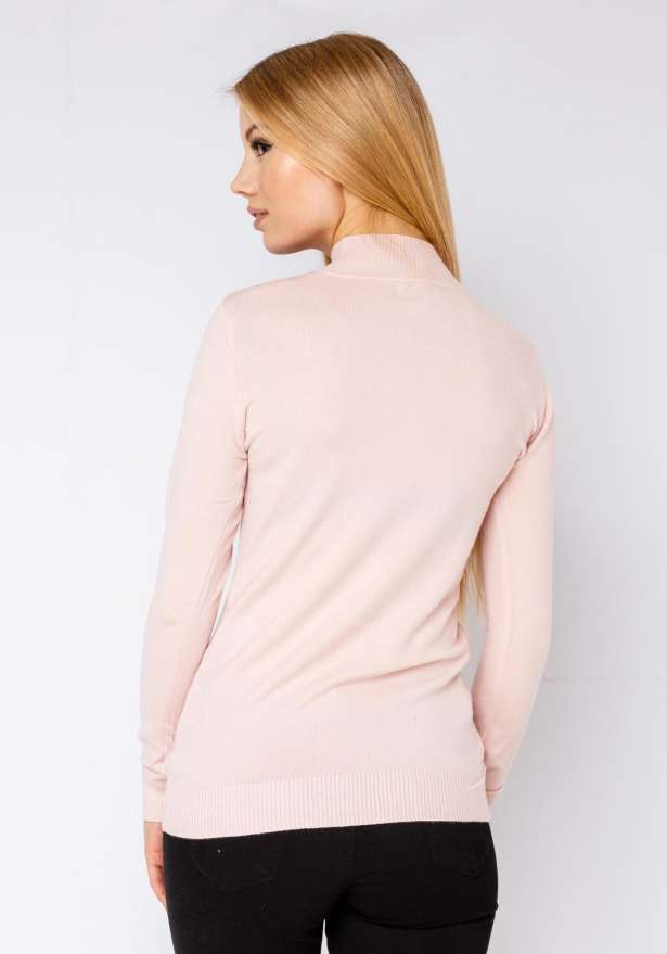 Polo Neck Knitted Jumper In Pink