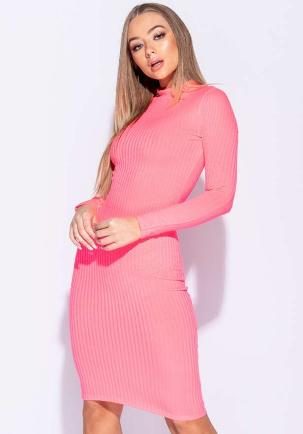 Rib Knit Polo Neck Long Sleeve Midi Dress In Neon Pink