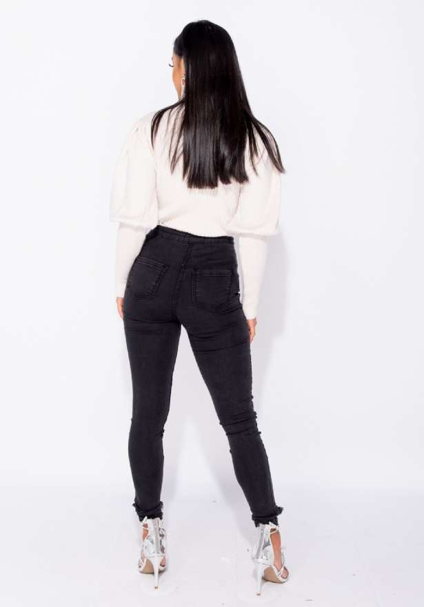 Ripped High Waist Jeggings In Charcoal