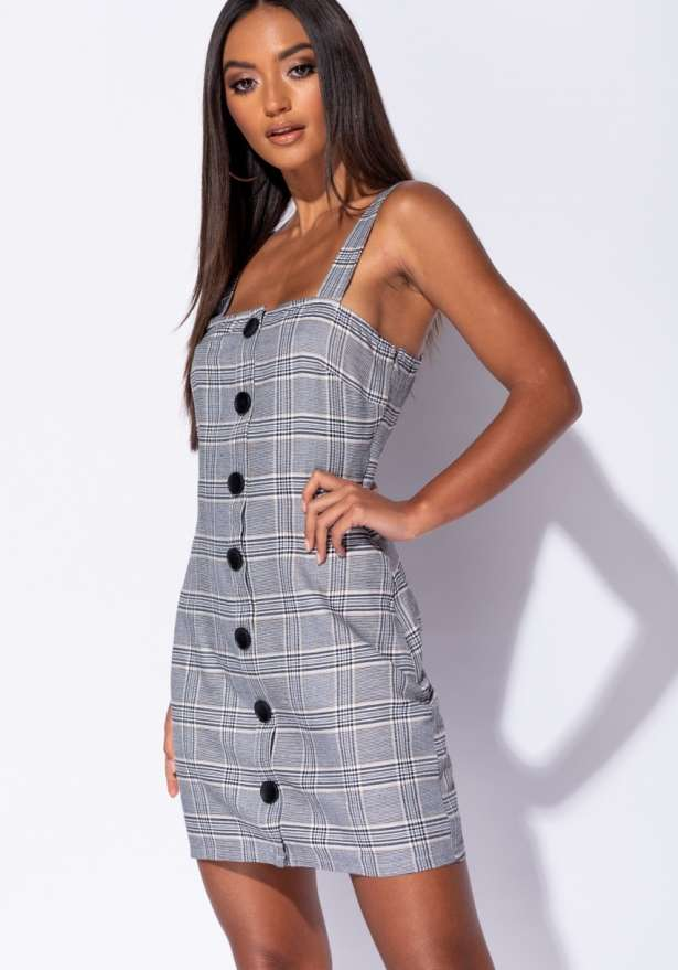 Button Up Front Check Print Mini Dress In Black
