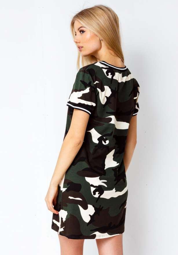 Premium Camo T-Shirt Dress In Green