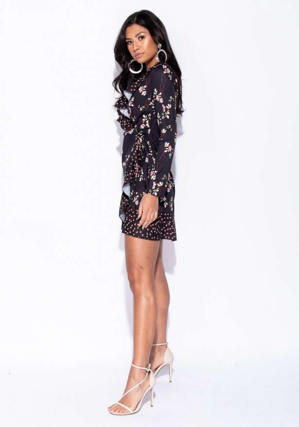 Floral Printed Detail Wrap Front Frill Trim Dress In Black