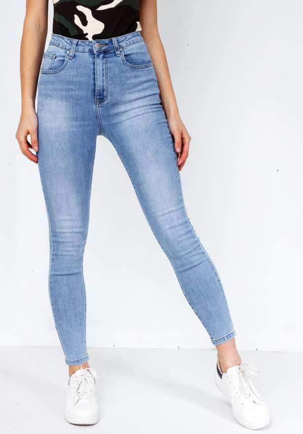High Waist Premium Skinny Stretch Jeans In Denim Blue