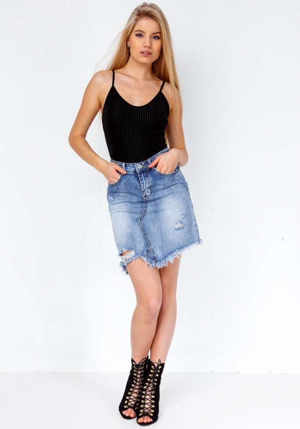 High Ripped Distressed Denim Skirt In Blue