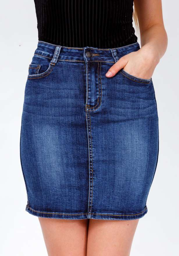Nina Mid Rise Dark Denim Skirt