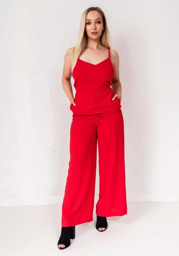 Back Tie Spagetti Strap Jumpsuit In Red