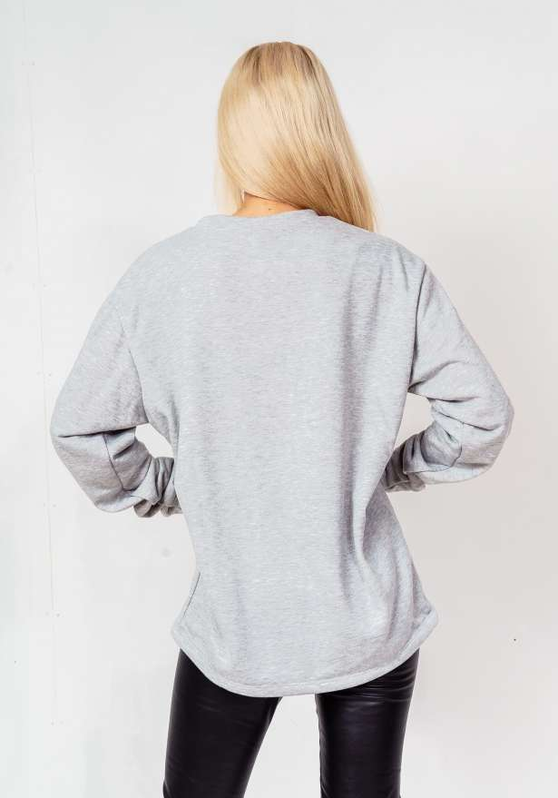 Los Angeles Sleeve Print Sweatshirt In Grey