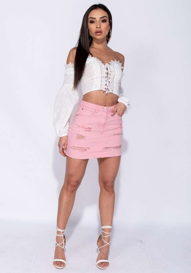 Boho Broderie Lace Up Front Puff Sleeve Crop Top In White