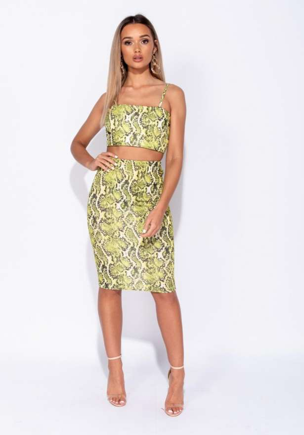Snake Print Strappy Crop Top In Yellow