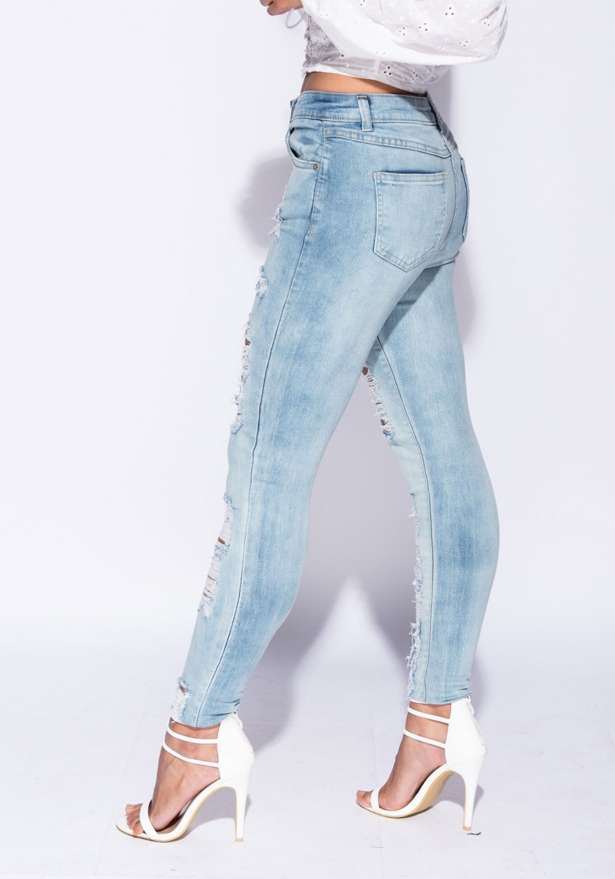 Toronto Multi Rip High Waisted Skinny Jeans