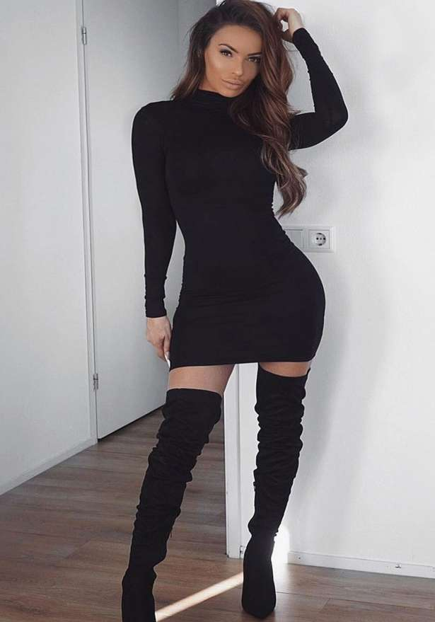 High Neck Long Sleeve Bodycon Mini Dress In Black