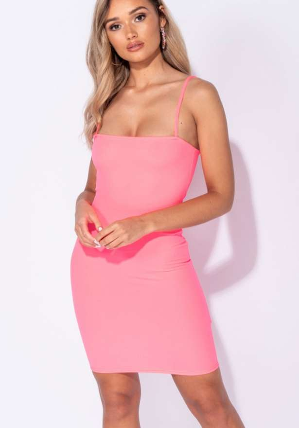 Strappy Bodycon Mini Dress In Neon Pink