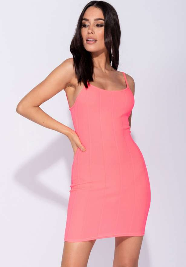Bodycon Cami Bandage Dress In Neon Pink