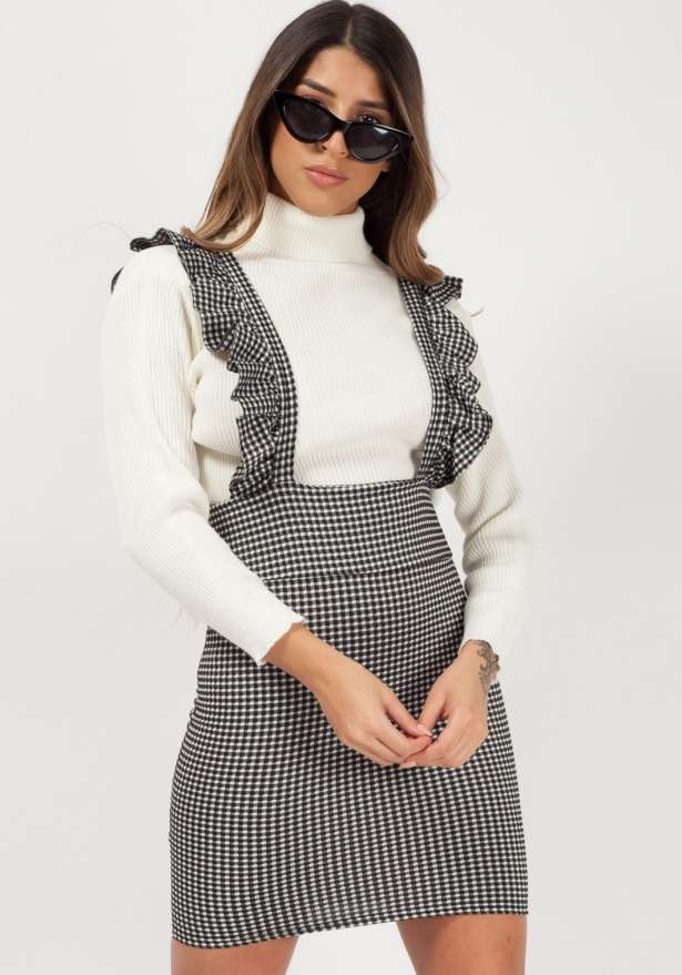 Frill Detail Checked Pinafore Dress