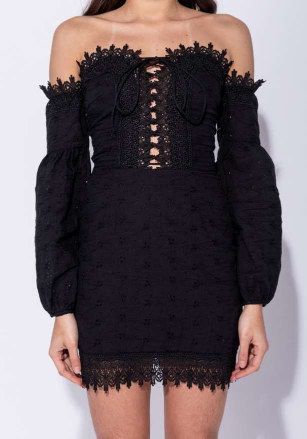 Broderie Anglaise Lace Tie Up Front Bardot Dress In Black