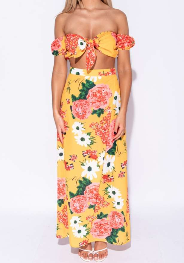 Floral Tie Bardot Crop Top Maxi Skirt Co Ord Set