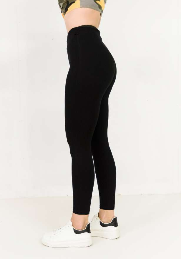 Zip up High Waist Skinny Stretch Pants In Black