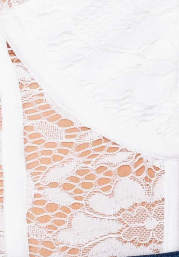 Eyelash Lace Panel Bodysuit In White