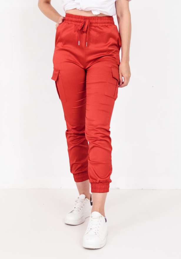 Satin Pocket Detail Cargo Trouser In Red