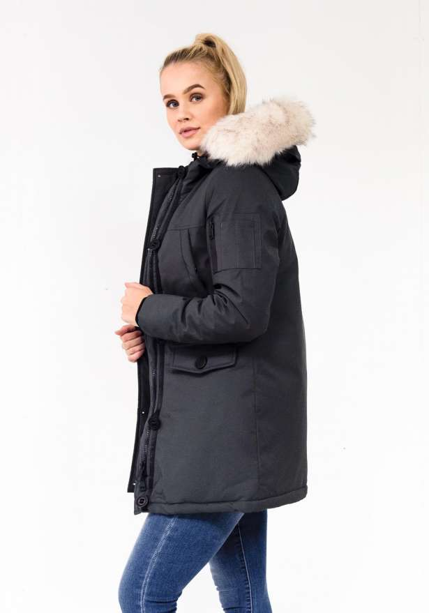 Lucy Detachable Faux Fur Long Parka In Grey