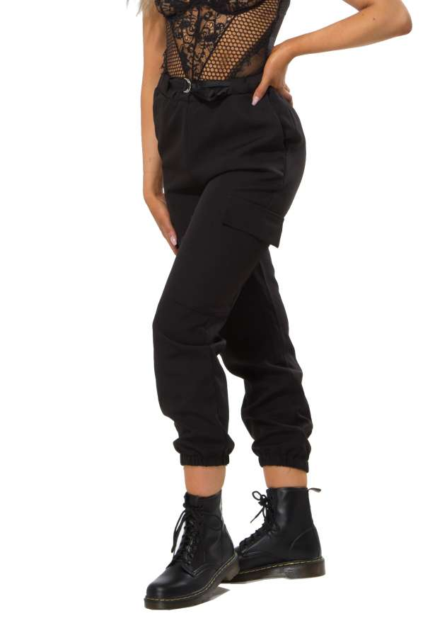 Hang Belt Detail Cargo Pants In Black