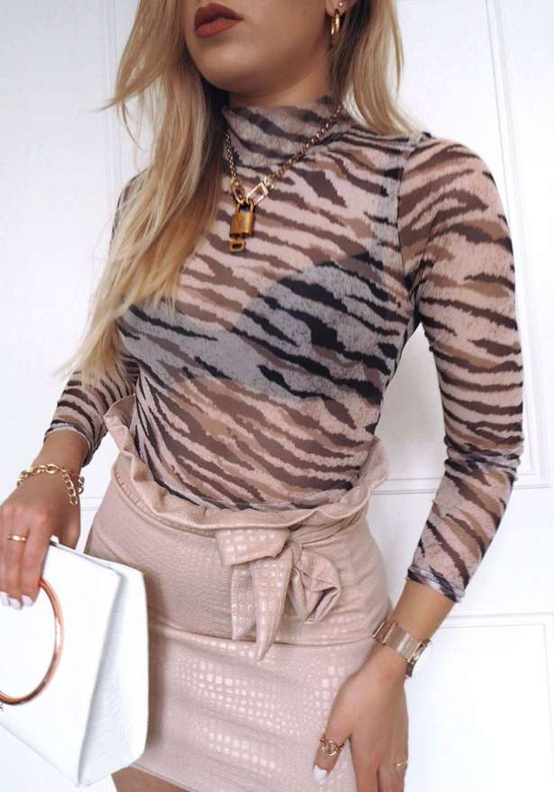 Animal Print Mesh Bodysuit