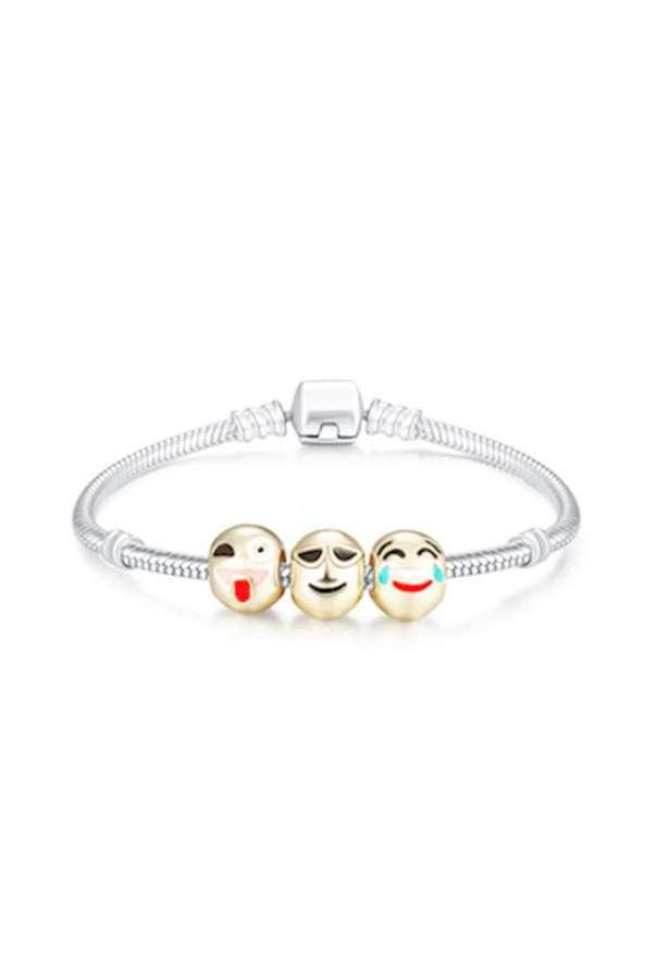 3 Charm 18Ct Yellow Gold-Plated Emoji Bracelet
