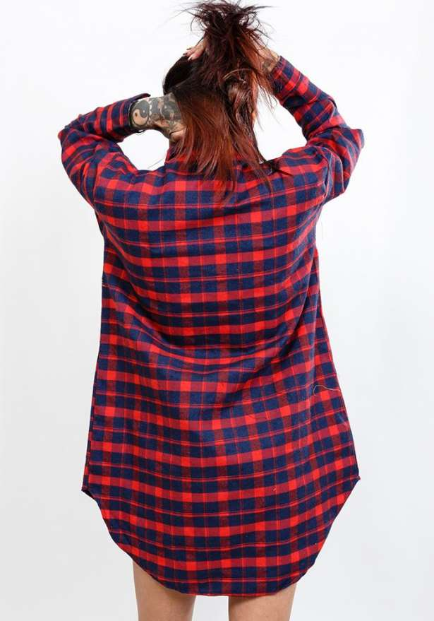 Plaid Red And Navy Oversize Flannel Shirt